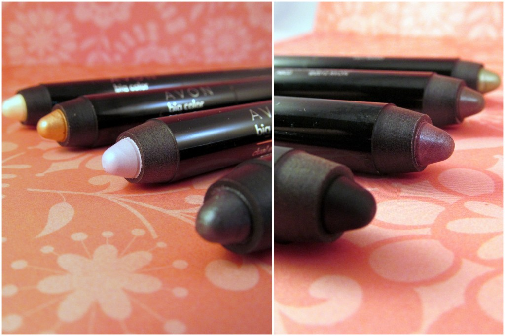 Avon Big Color Dual-Ended Eye Pencil in (T-B): Go to Greens, Perfect Nudes, Plum Perfection, Silver Smoke