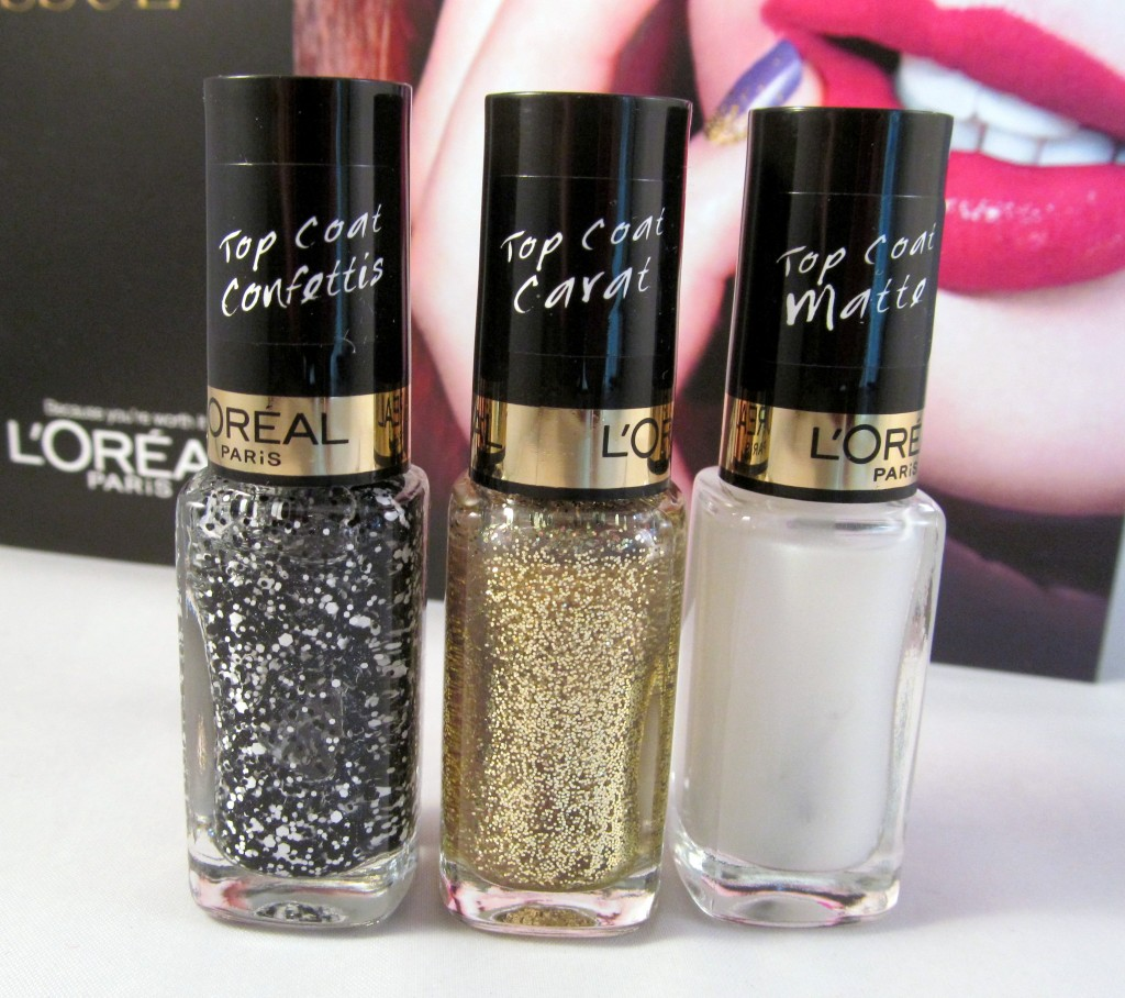 L'Oreal Colour Riche Top Coats in (L-R) Confetti Top Coat, The Gold Top Coat & The Matte Top Coat