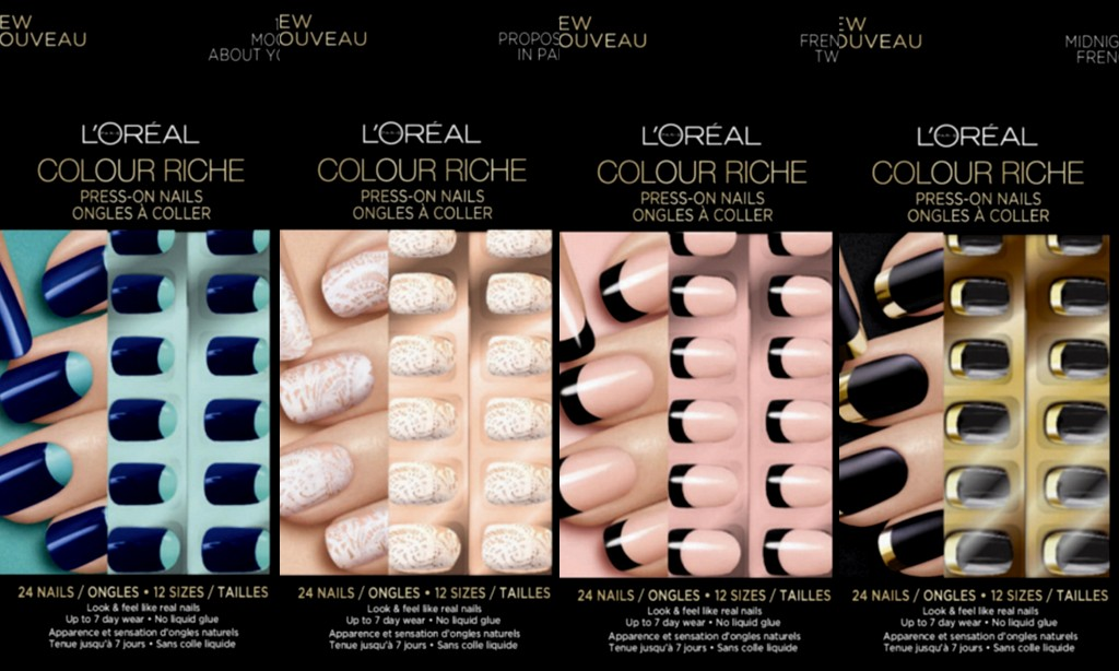 L'Oreal Paris Colour Riche Press-On Nails in Moon About You, Proposal in Paris, French Twist & Midnight French (which I'm dying to try!)