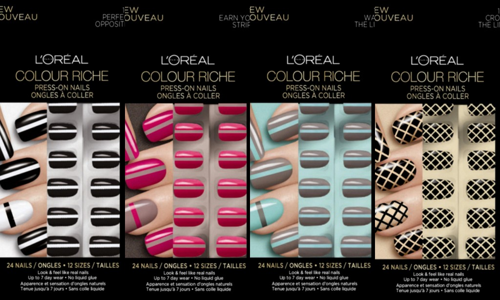 L'Oreal Paris Colour Riche Press-On Nails in Perfect Opposites, Earn Your Stripes, Walk the Line & Cross the Line