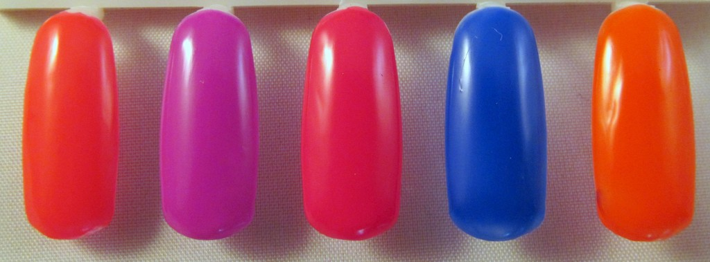 Avon MegaWatt Nail Enamel in (L-R) Hot Pants, Electric, Pop, Shock & Voltage