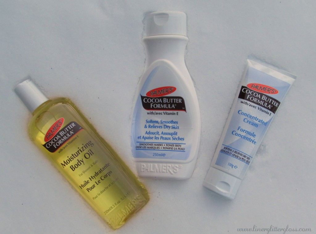 Palmers cocoa butter, palmers cocoa butter formula, palmer's concentrated cream, palmer's moisturizing body oil,  winter skin, dry skin, moisturizers, body lotion