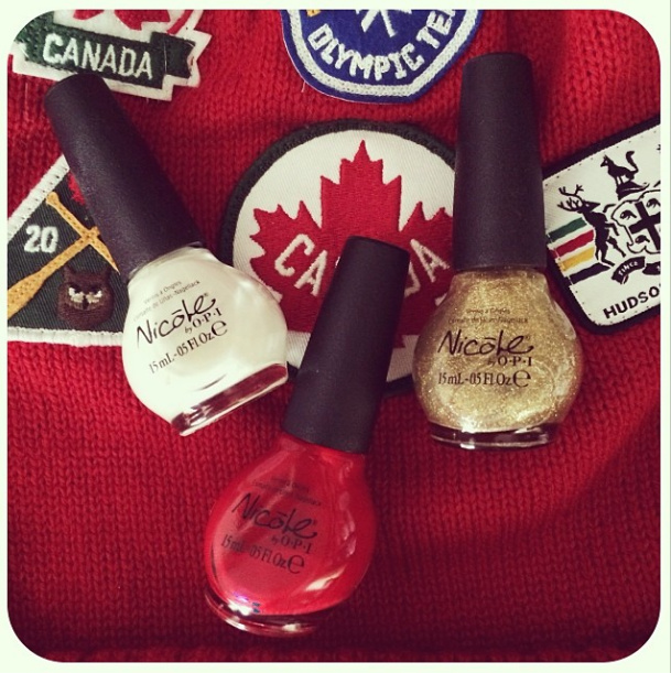 Canada nails, canada olympics, canada manicure,  nicole by opi