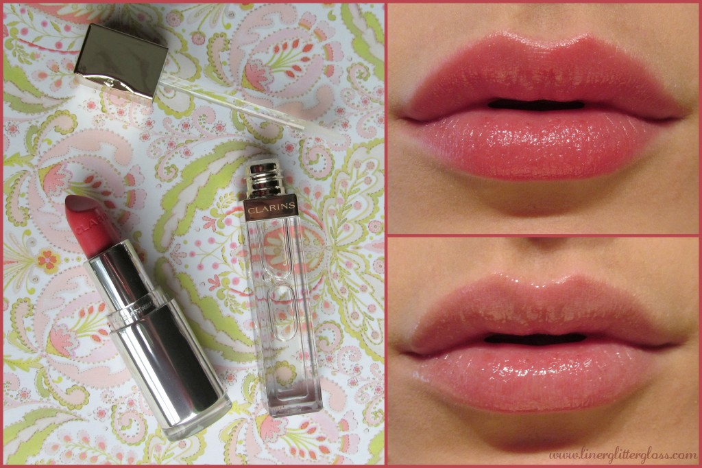 clarins opalescence, clarins spring 2014, clarins opalescence spring 2014 swatch, clarins joli rouge brillant pink orchid, clarins gloss prodige crystal