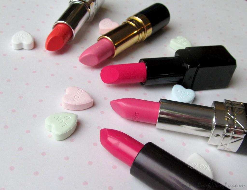 valentine's day beauty, pink lipstick, valentine's day lipstick, Avon Lipstick Creamy Melon, Rouge Dior Allegresse, Revlon Super Lustrous Lipstick Pink Cloud, Illamasqua Lipstick Eurydice, Covergirl lipstick Bombshell Explosion, lipstick, pretty in pink