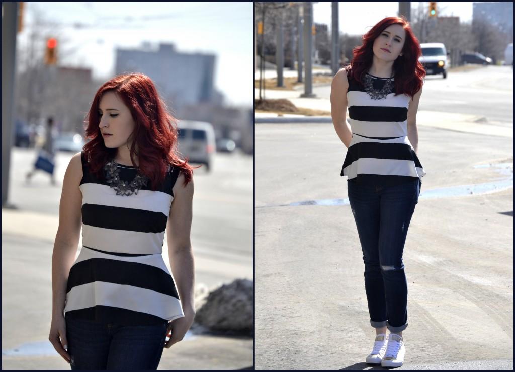 converse sneakers, beauty blogger, Dee Thomson, fashion blogger, smart set, peplum top, smart set jeans, nelle boutique, statement necklace