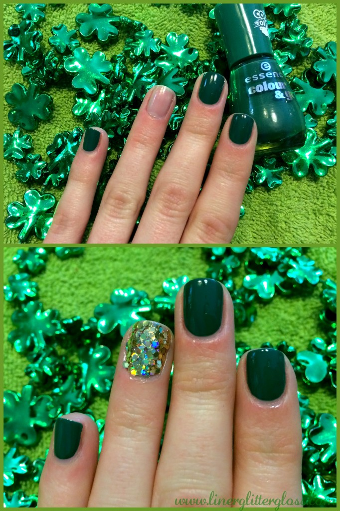 St Patrick's day nails, st patrick's day nail art, st patrick's day nail tutorial, st patrick's day mani, st patrick's day manicure, pot of gold nails, pot of gold nail art, st paddy's nails, st paddys nail polish, green nail polish, gold nails, gold glitter nails, gold nail art, st patricks day beauty, essence nail art decoration kit, essence colour & go, essence nail polish the grunge & the green