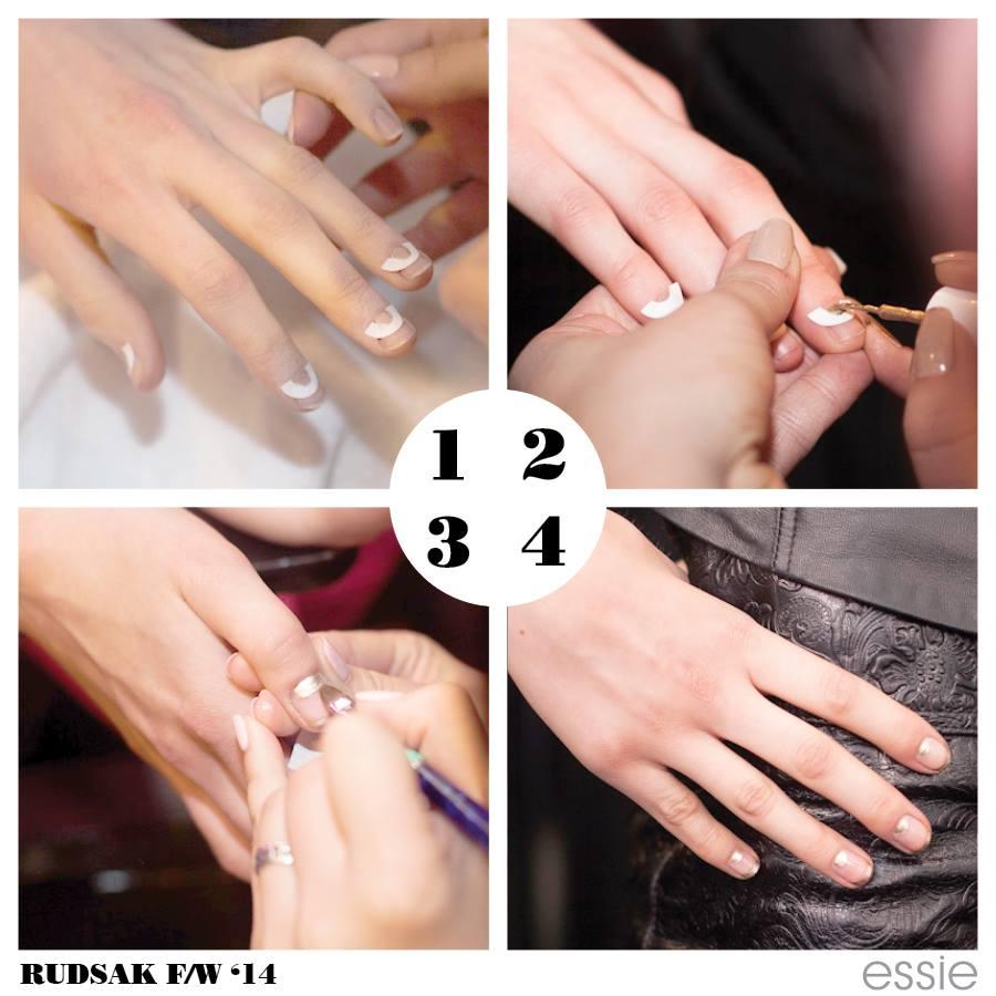 Rudsak, Rudsak FW 14, rudsak fall 2014, rudsak nails, gold nail, negative space manicure, negative space mani tutorial, essie negative space, essie fall 2014, essie manicure, essie wmcfw, fall beauty trends