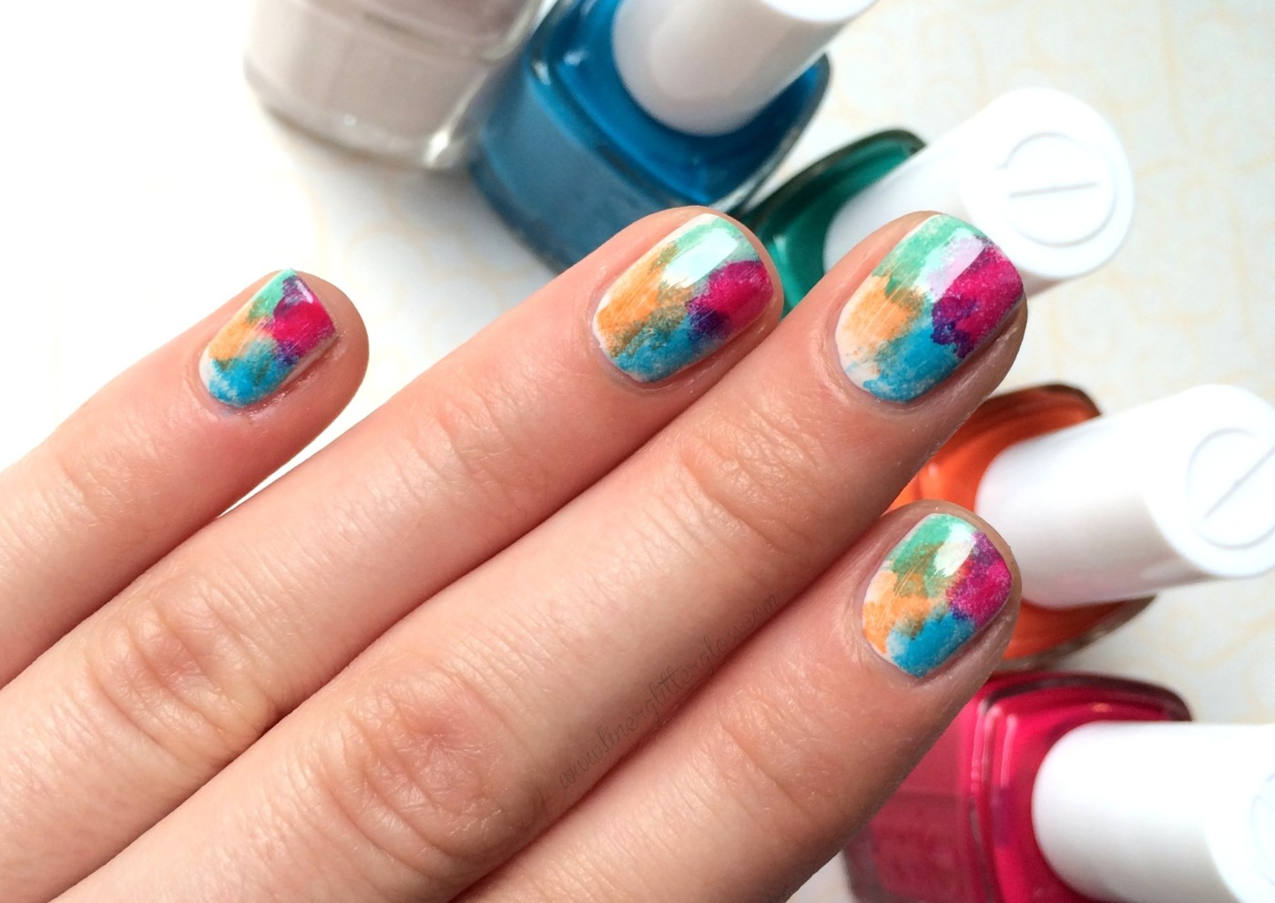 Easy Summer Watercolor Mani Tutorial Step By Step Nail Art