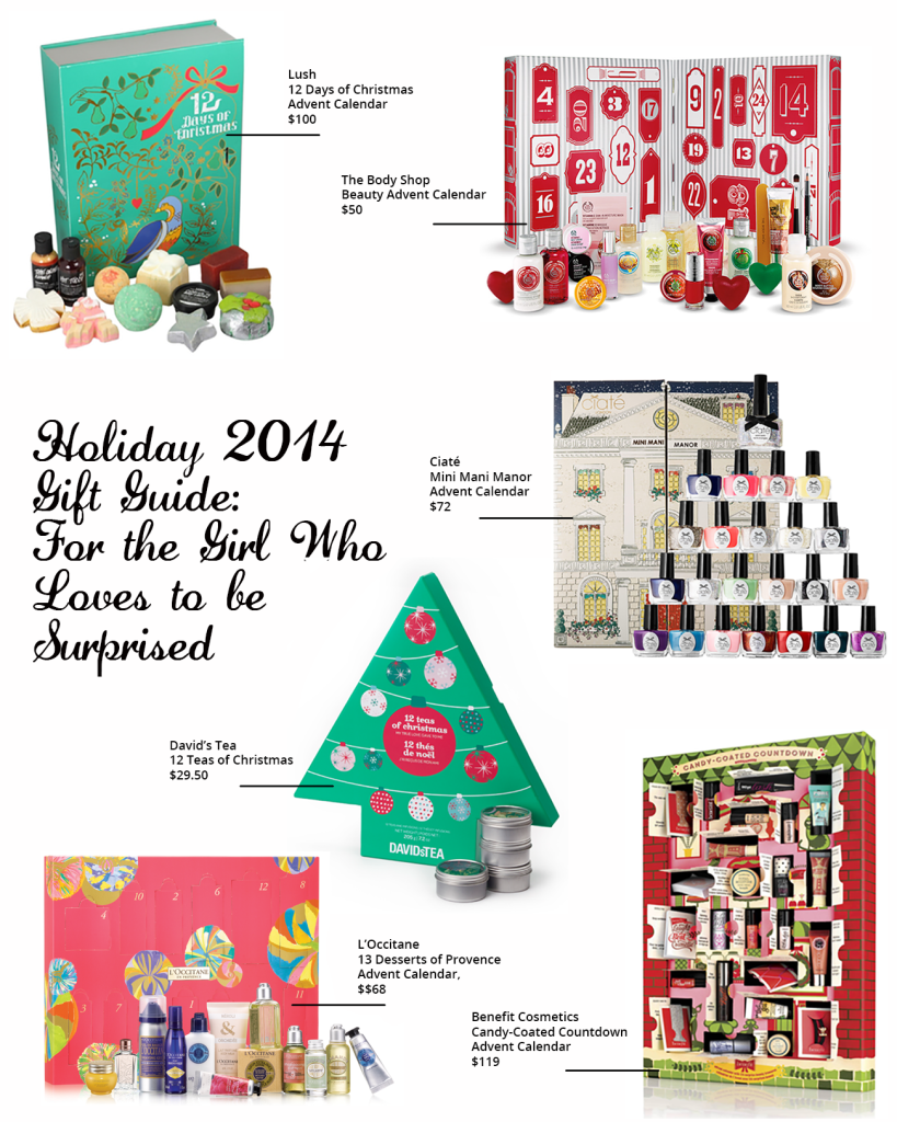 l'occitane, l'occitane 13 desserts of christmas, ciate advent calendar 2014, benefit candy coated countdown, benefit advent calendar, benefit advent calendar 2014, david's tea advent calendar 2014, david's tea 12 teas, ciate mini mani manor, ciate advent calendar, the body shop advent calendar, lush advent calendar, best advent calendars 2014, advent calendar, fun advent calendar, makeup advent calendar, surprise holiday gifts, holiday gift guide 2014, christmas present for girls, girl christmas present 2014