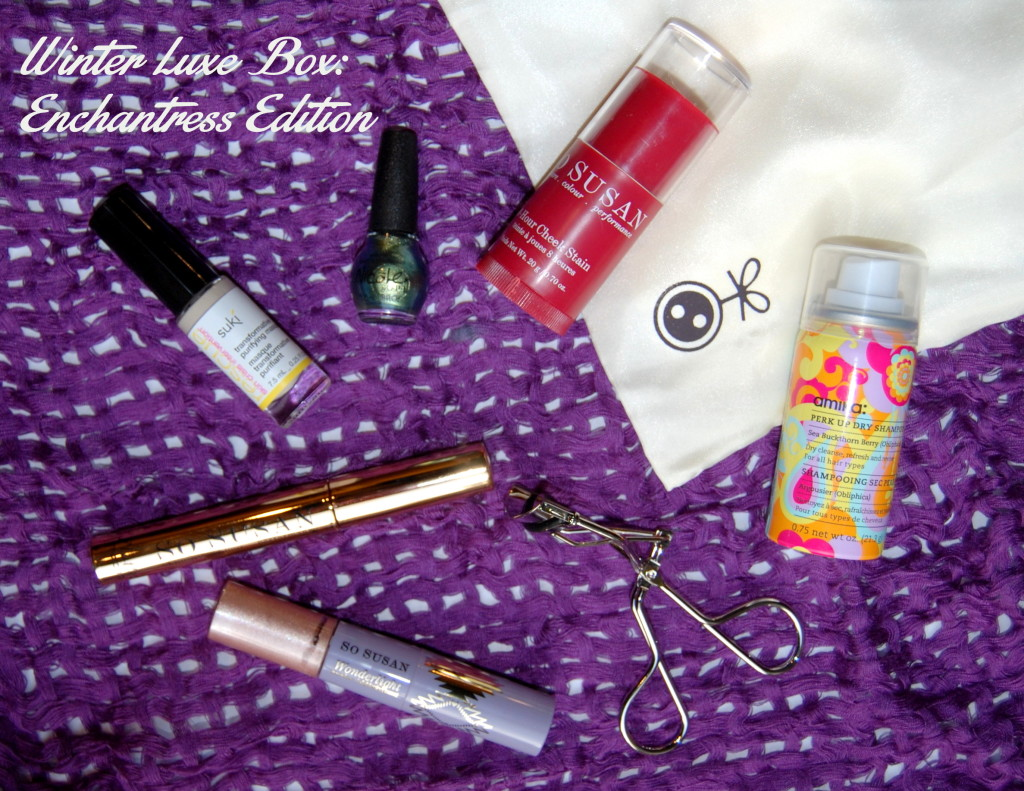 luxe box, loose button, beauty box, beauty subscription, canadian beauty box, amika dry shampoo, beauty samples, beauty samples canada, beauty sampling canada, so susan cheek stain, nicole by opi, nicole by opi mer-maid for each other, suki skincare, suki skincare mask, so susan flutter mascara, so susan mascara, so susan canada, so susan wonderlight, so susan concealer, eyelash curler, loose button eyelash curler