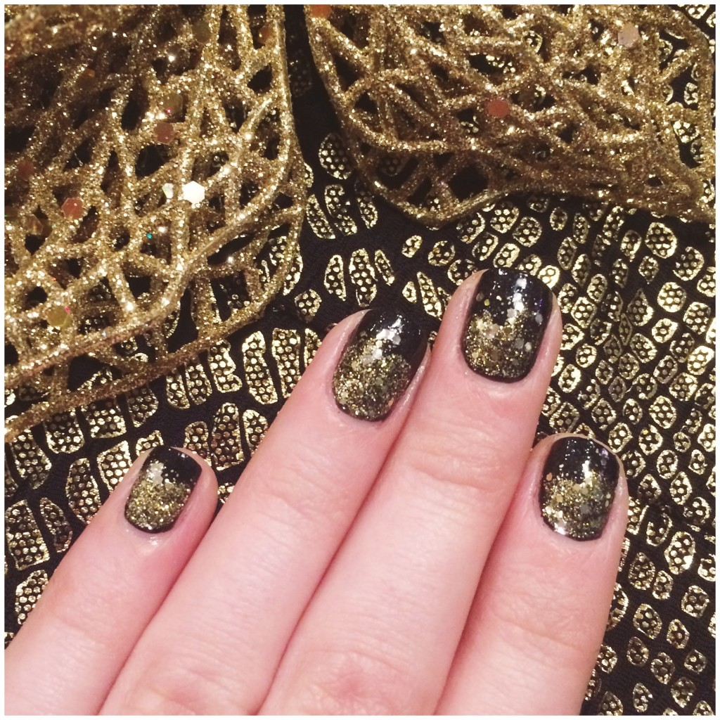 sparkly nails, black and gold nails, black and gold manicure, new years eve nails, new years eve manicure, sparkly nail tutorial, reverse ombre nails, nail tutorial, liner glitter gloss, how to do my nails for new years, new years beauty, nicole by opi, nicole by opi kissed at midnight, nicole by opi totally in the dark, nicole by opi a heart of gold