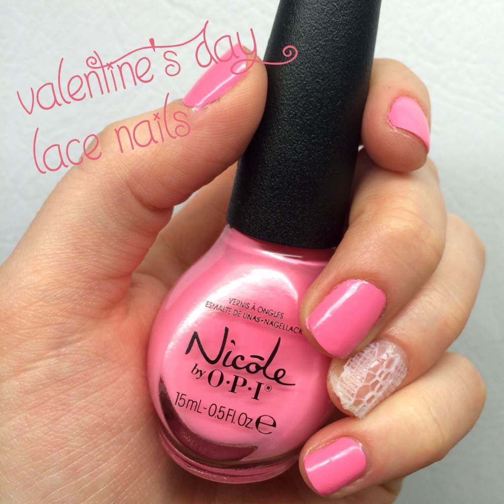 valentine's day, valentine's day beauty, valentine's day nails, valentine's day nail polish,  valentine's day manicure, pink manicure, nicole by opi in sync with pink, lace manicure, lace nails, how to put lace on nails, fabric on nails, nail art