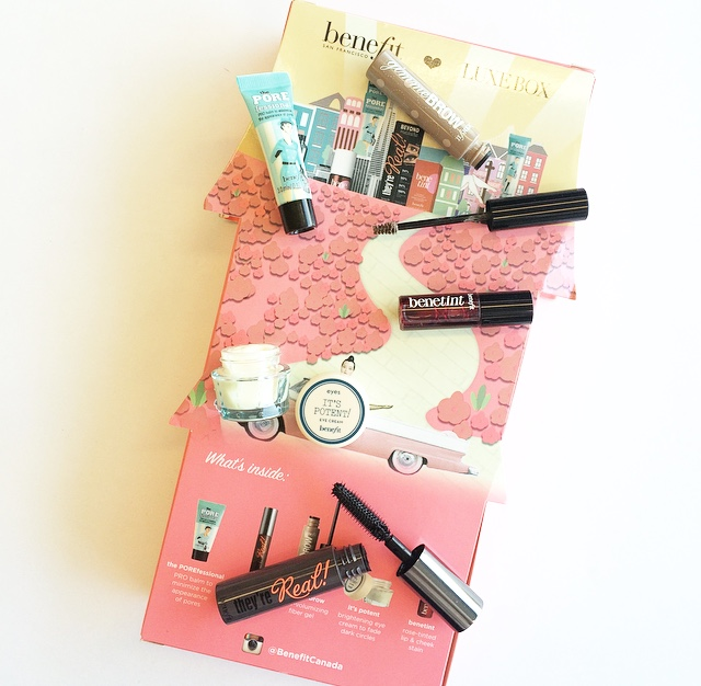 luxe box, beauty box, canadian beauty box, canadian beauty subscription, beauty subscription, luxe box benefit, luxe box benefit cosmetics, what beauty boxes ship to canada, luxe box spring 2015 limited edition, luxe box upgrade box, benefit cosmetics, benefit cosmetics samples, where to try benefit cosmetics, benefit cosmetics beauty box