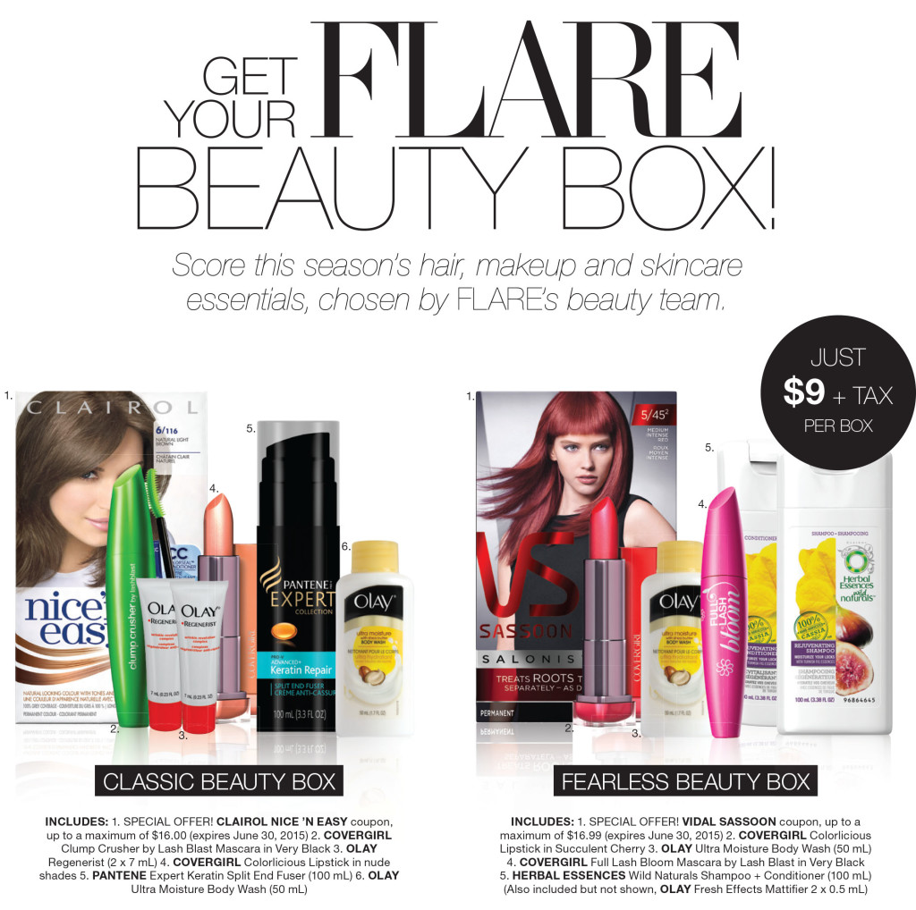 flare beauty box, beauty united, covergirl clump crusher, clairol nice n easy, covergirl lipstick, pg beauty sample box,  pg beauty sample, flare sample box, flare magazine beauty box, olay body wash sample