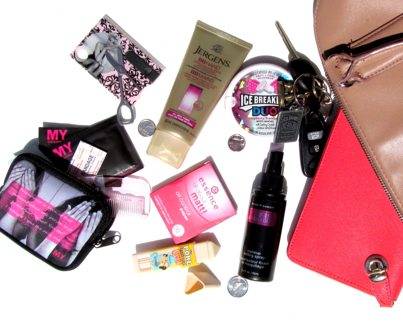 purse essentials, purse must haves, mytagalongs, mytagalong survival kit, jergens bb hands, jergens bb hand cream, bb cream for hands, best hand lotion, hand cream with spf, essence  all about matt, essence oil control paper, benefit the porefessional, benefit the porefessional license to blot, benefit oil control stick, hard candy fast & fabulous, hard candy makeup setting spray, what should i keep in my purse for emergencies