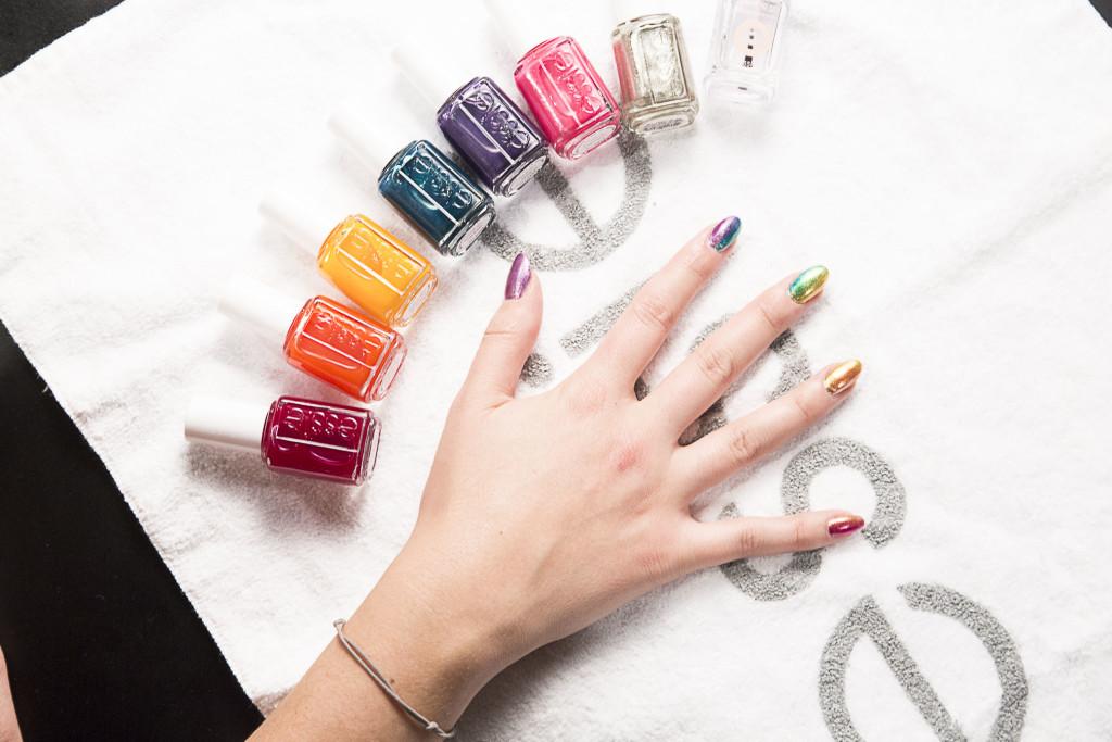 hayley elsaesser, hayley elsaesser nails, essie, essie nails, essie spring 2016, essie hayley elsaesser, wmcfw, wmcfw spring 2016, spring 2016 nail art, spring nail trends, spring 2016 beauty, essie silk watrcolours, essie watercolours, world mastercard fashion week october 2015, rita remark, rita remark nail art, rainbow nail art, rainbow gradient, how to make a rainbow on your nails
