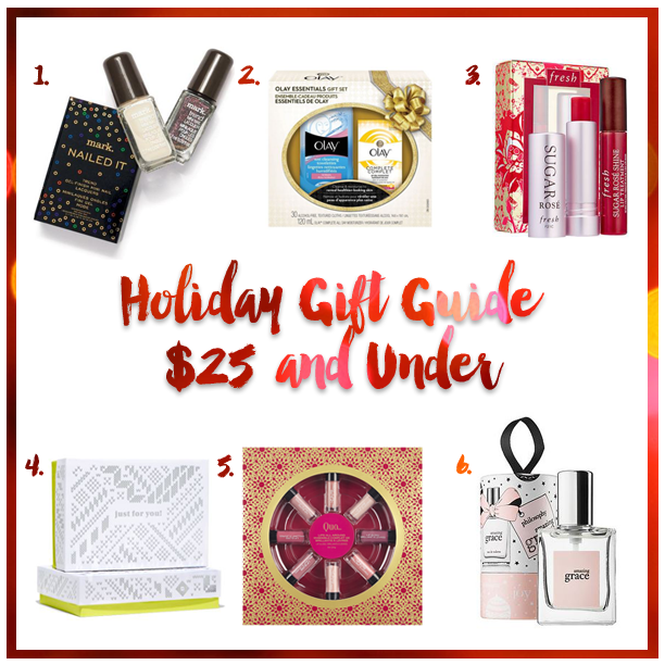 beauty gift guide, christmas presents for girls, what to buy my girlfriend for christmas, beauty christmas presents, christmas 2015 gift guide, mark trend mini nail lacquers, mark mini nail polish, olay gift set, fresh rose ritual, birchbox, birchbox canada, birchbox subscription, quo lip gloss, quo holiday set, philosophy amazing grace, philosophy amazing grace ornament