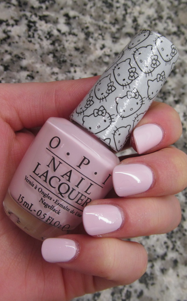 opi helly kitty, opi hello kitty collection, hello kitty nail polish, opi hello kitty review, opi hello kitty swatches, hello kitty swatches, opi let's be friends, opi let's be friends swatch, pale pink nail polish, pretty pink nail polish, let's be friends swatch