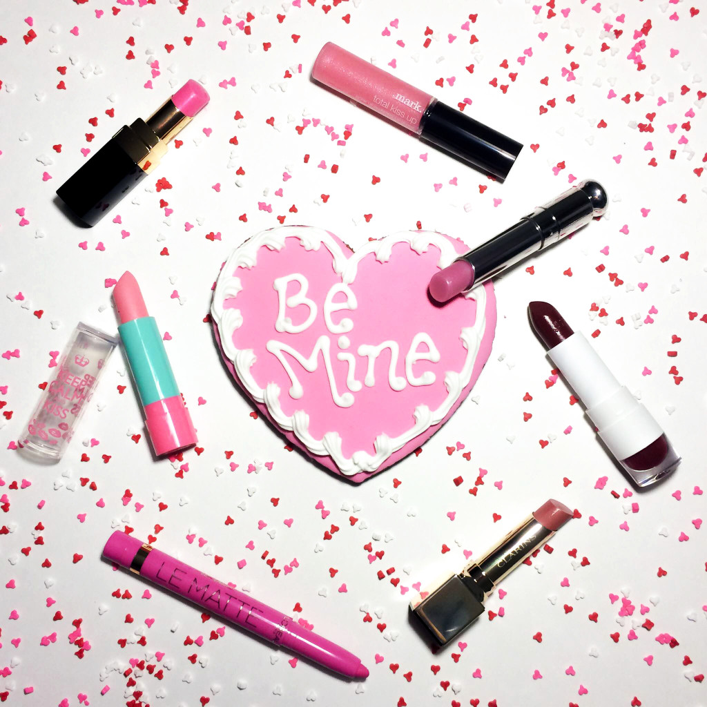 valentine's day, valentine's day beauty, makeup, lipstick, dior lip glow, rimmel keep calm and kiss, rimmel lip balm, clarins rouge eclat, clarins rouge eclat rose praline, chanel le rouge velours lumineux, chanel la delicate, chanel le rouge velours lumineux la delicate, mark total kiss up, mark total kiss up lip gloss, mark lip gloss, joe fresh mat scarlet, joe fresh matte lipstick, l'oreal paris le matte, l'oreal paris le matte matte for me, lipstick for valentine's day