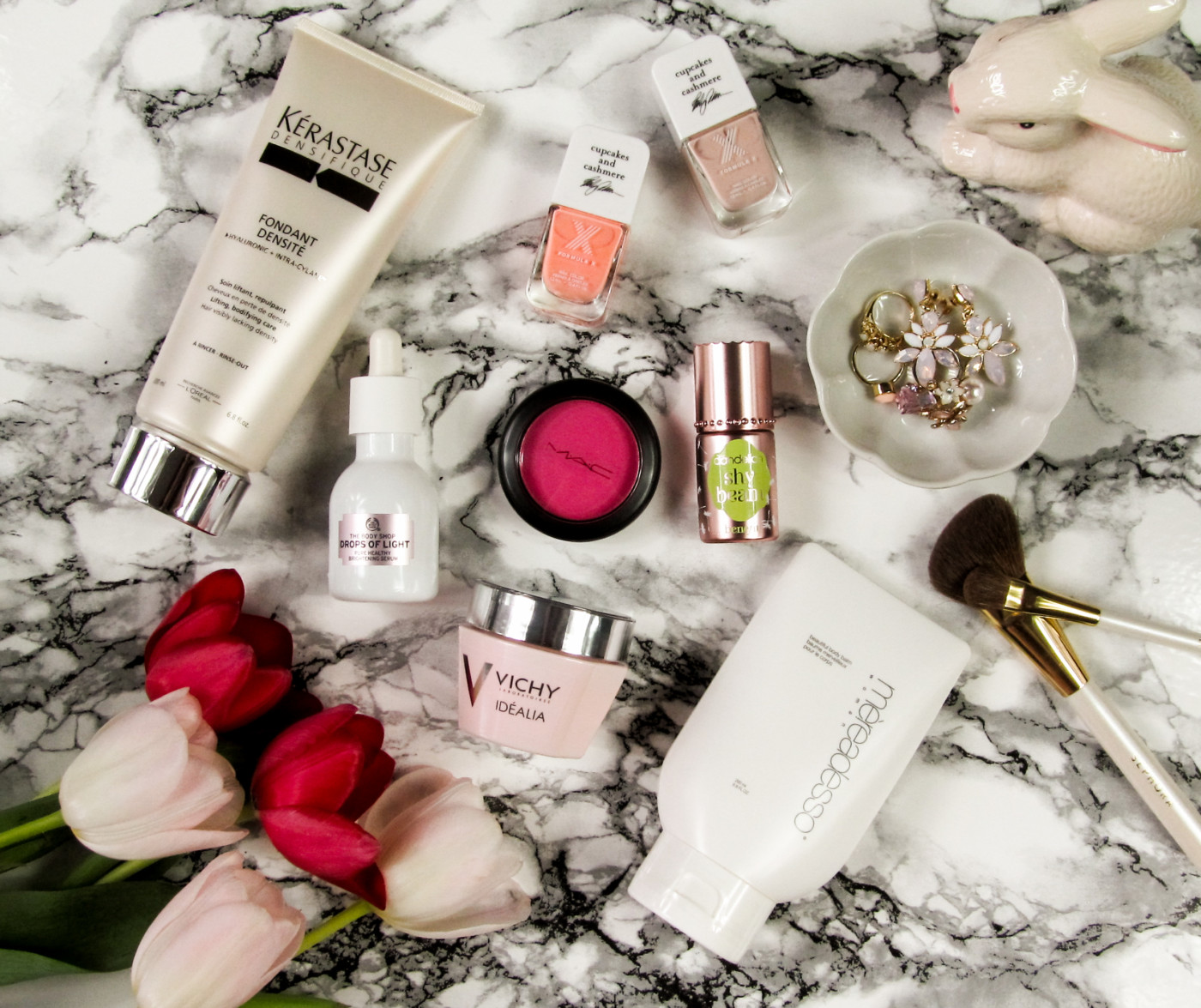 spring beauty, spring beauty 2016, how to get ready for spring, best way to make my skin look better for spring, kerastase fondant densite, kerastase densifique, vichy idealia, vichy idealia cream, illuminating skin cream, how to make my skin look glowy, the body shop drops of life, the body shop drops of life brightening serum, brightening serum, benefit dandelion, benefit cosmetics dandelion, benefit dandelion shy beam, shy beam, matte highlighter, mereadesso, mereadesso beautiful body balm, formula x color curators, formula x cupcakes and cashmere, mac let's be friends, mac powder blush, mac flamingo park blush, spring makeup