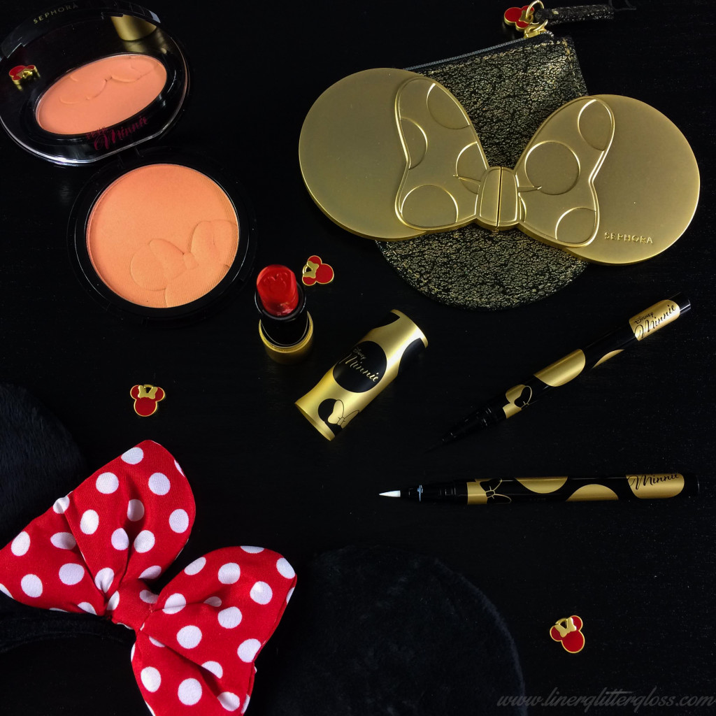 disney minnie beauty, minnie mouse makeup, sephora minnie mouse collection, sephora minni, sephora minnie mouse, sephora collection, spring 2016 beauty, spring 2016 makeup, beauty, disney beauty, new at sephora, red lipstick, minnie's black & white felt liner duo, minnie mouse black eyeliner, minnie mouse white eye liner, minnie's perfect red lipstick, minnie mouse red lipstick, minnie's inner glow luminizer blush, sephora minnie mouse swatches, where can i find swatches of the minnie mouse makeup