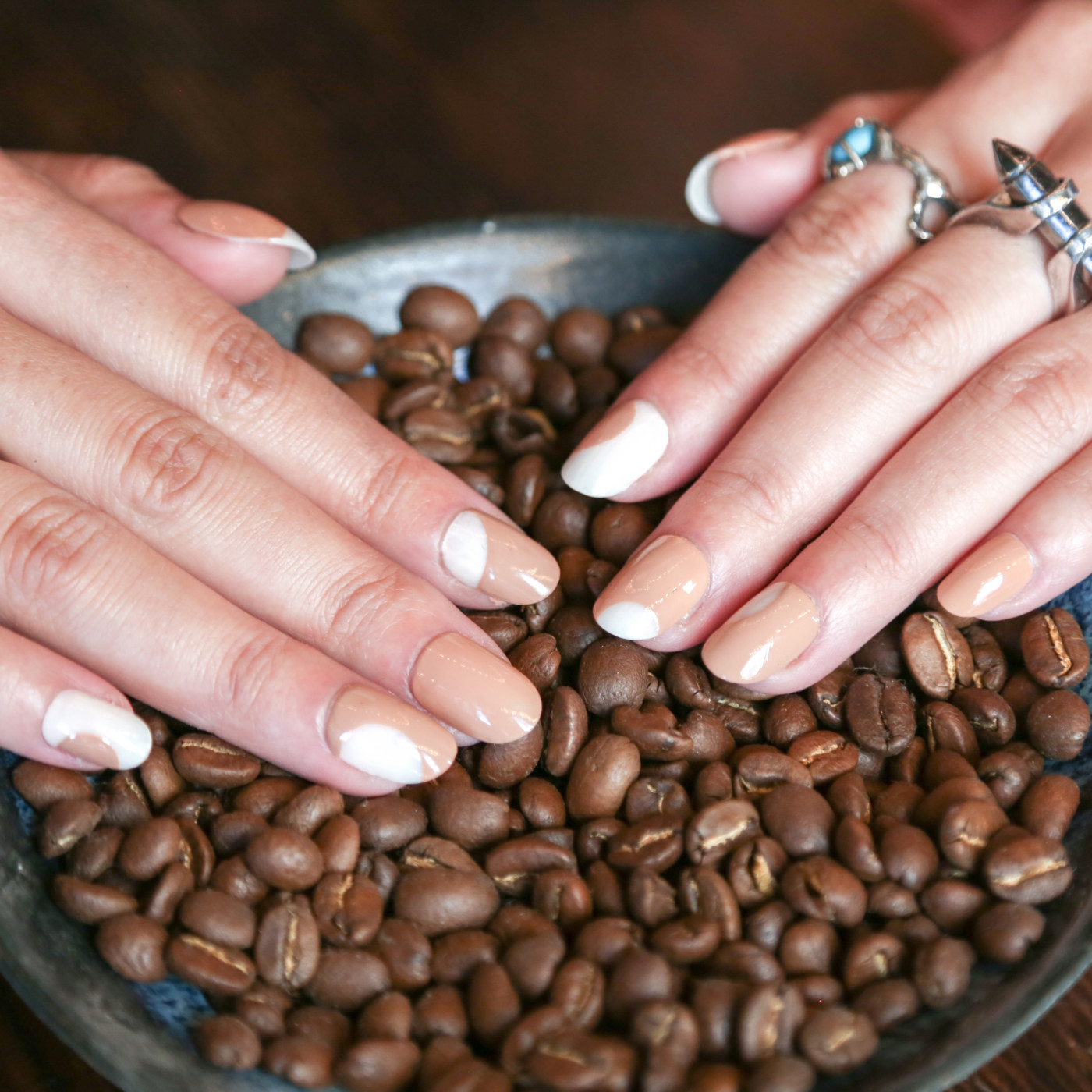 national coffee day, coffe manicure, sally hansen nails, sally hansen miracle gel, sally hansen totem-ly yours, coffee mani, nude mani, easy nude nail art, easy nude nails, how to do nail art,  nail art for beginners