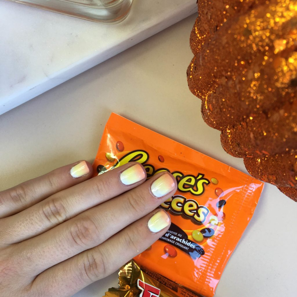 candy corn nails, candy corn manicure, halloween nails, halloween nail art, easy halloween nail art, easy candy corn manicure, candy corn manicure tutorial, how to do halloween nails, fun orange nails, fun fall nails