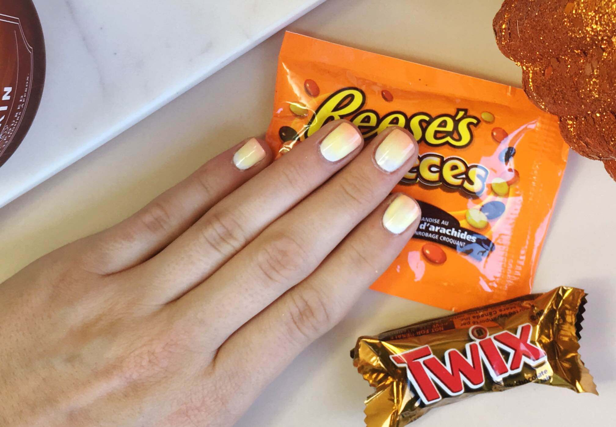 Candy Corn Manicure | Easy Halloween Nails