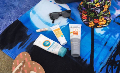 must have beach bag beauty products, what should i bring to the beach, bet sunscreen for beach, what sunscreen should i use, mychelle dermaceuticals sunscreen, garnier ombrelle sport endurance, sweat proof sunscreen, waterproof sunscreen, loreal paris after sun, blistex blissful butters