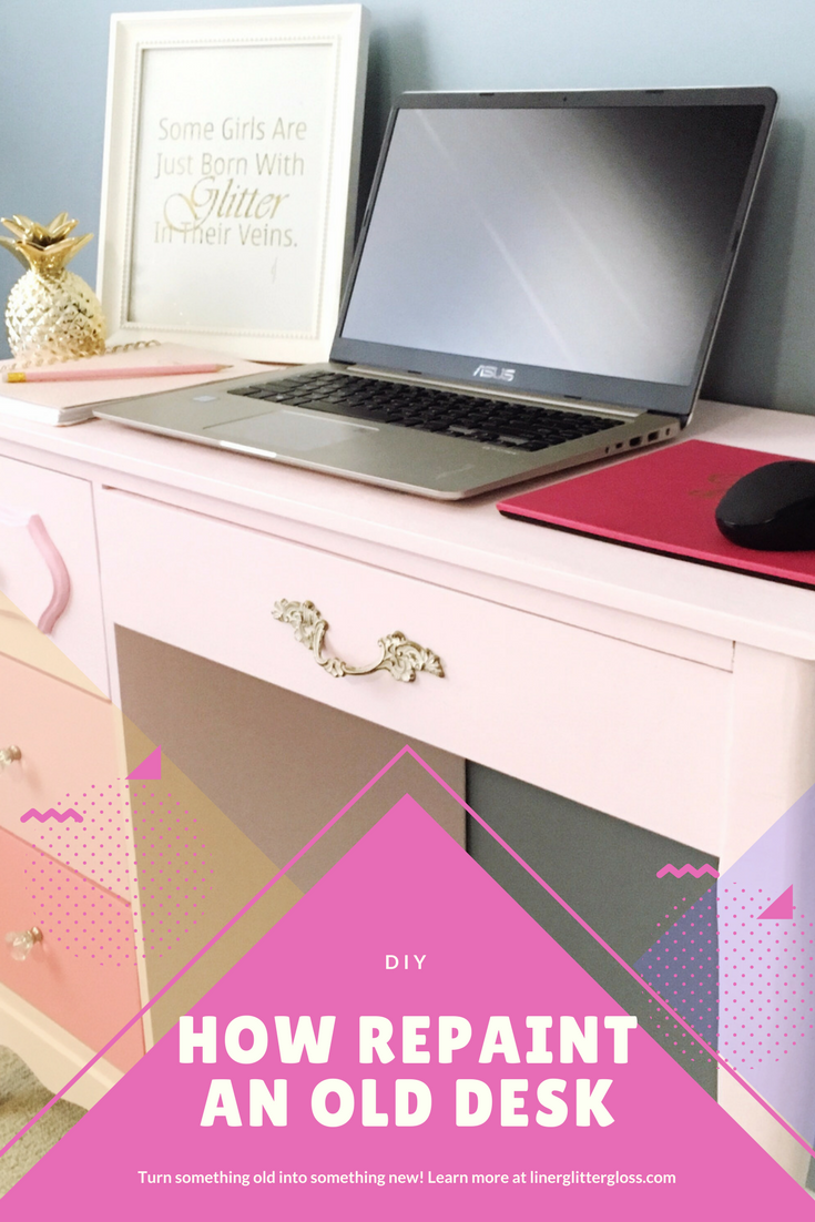 How to paint an old desk, DIY old furniture, how to paint old furniture, how to bring old furniture back to life, premier paint, premier paint canadian tire, painting old furniture, diy pink desk, how to paint a desk pink, how to paint ombre drawers