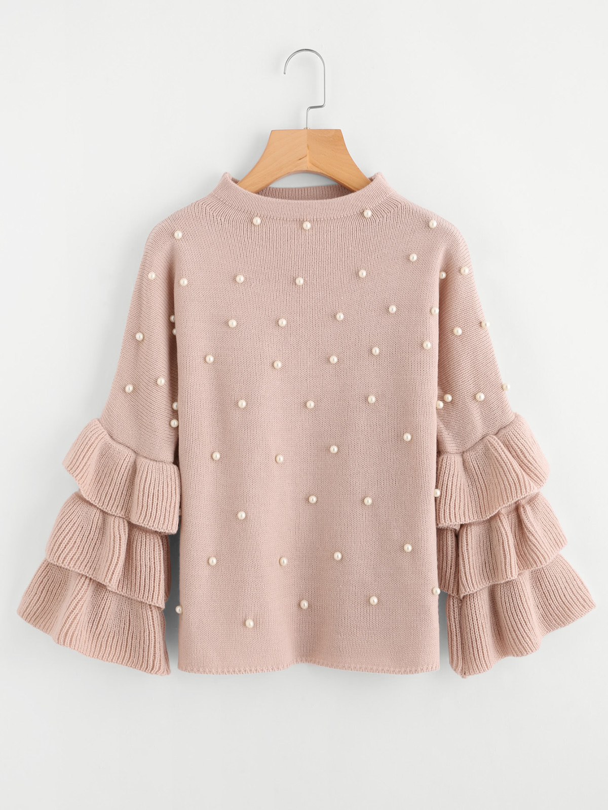 peal beaded sweater, cute sweaters, cute sweaters winter 2018, best sweaters to buy now, spring sweaters, pearl sweater, bell sleeve sweater, cute pink sweater, tie front sweater, romwe blogger, romwe fashion, romwe style