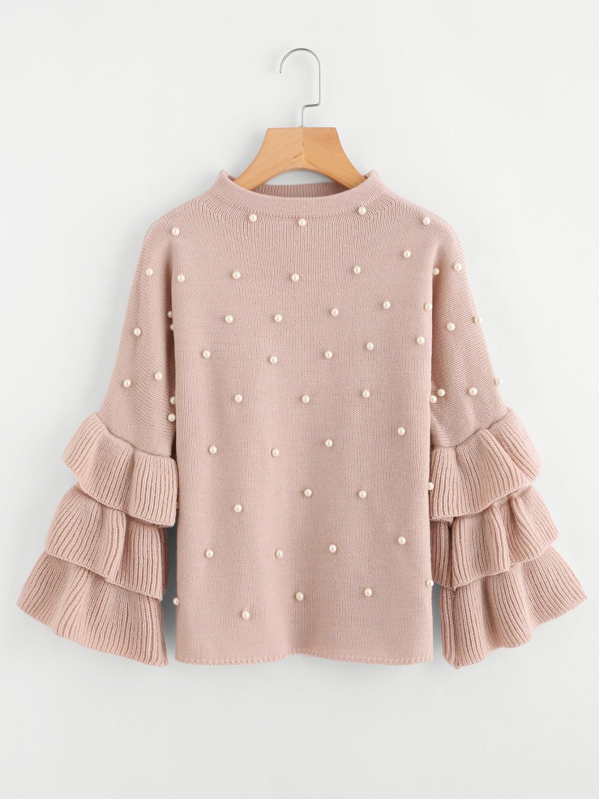 peal beaded sweater, cute sweaters, cute sweaters winter 2018, best sweaters to buy now, spring sweaters, pearl sweater, bell sleeve sweater, cute pink sweater, tie front sweater, romwe blogger, romwe fashion, romwe style