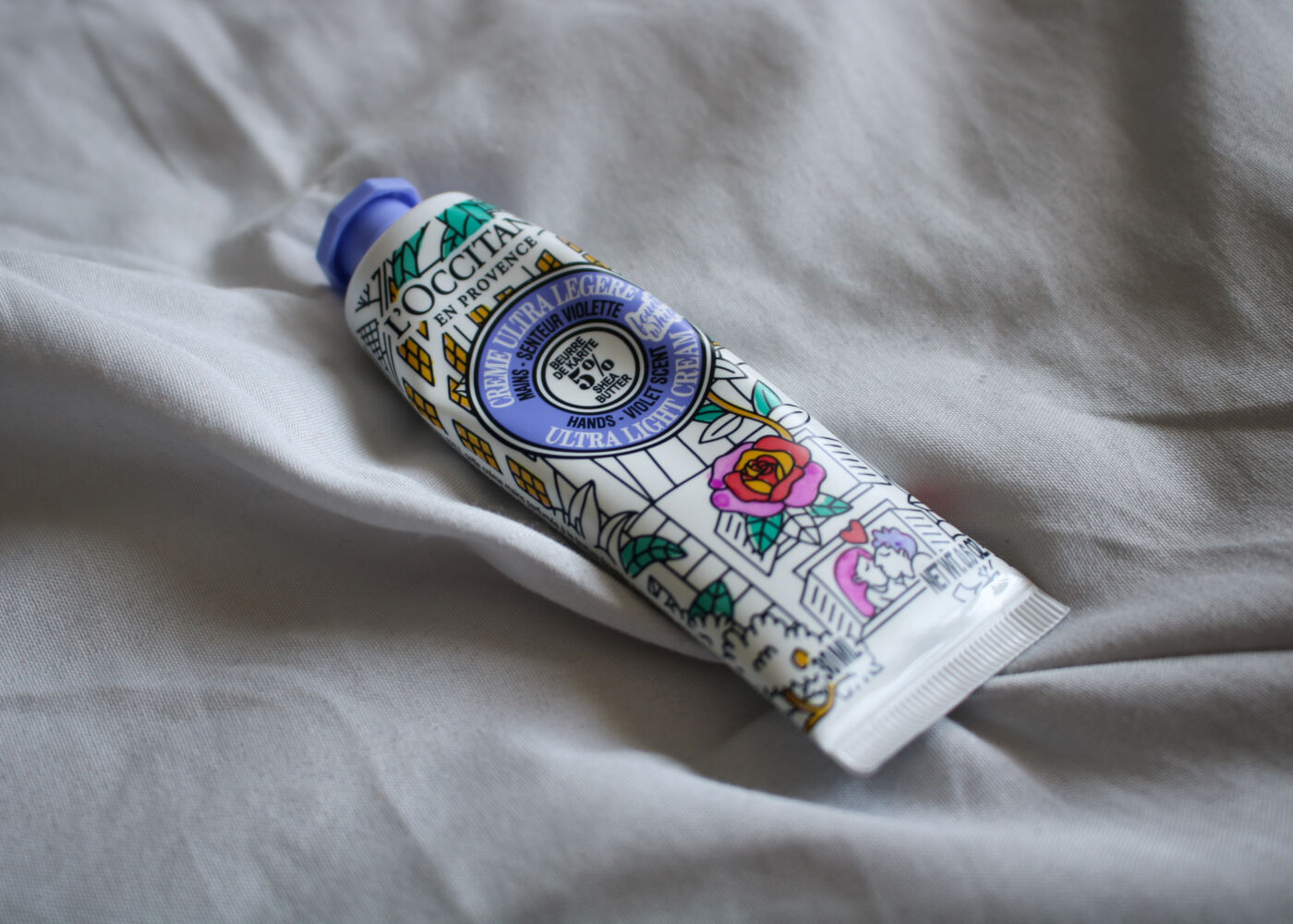 L'Occitane Shea Butter Ultra Light Hand Cream Violet Scent at-home beauty